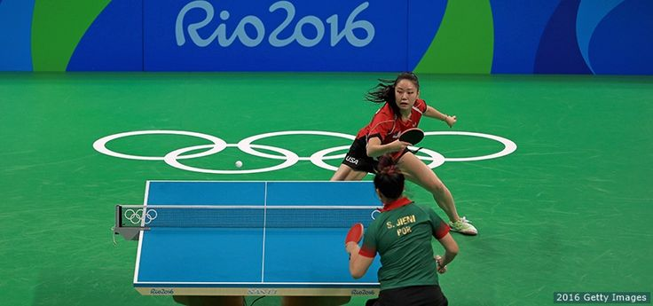 Lily Zhang plays a Women's Singles second round match against Jieni Shao of Portugal at the Rio 2016 Olympic Games at Riocentro Pavilion 3 on Aug. 6, 2016 in Rio de Janeiro. Zhang pulled off an upset, beating Shao to advance to the round of 32.
