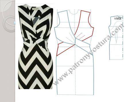 Patrón y costura : vestido cruzado delante con cintura descubierta. T...