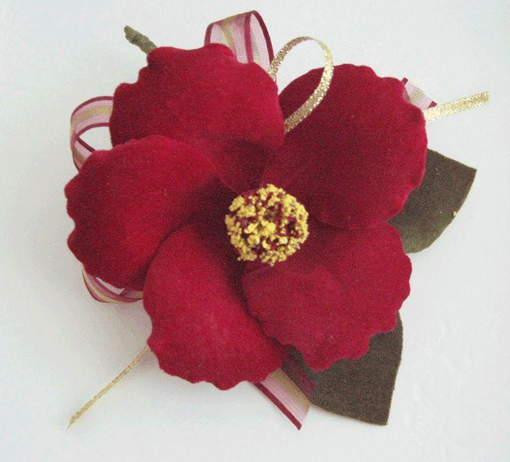 red velvet Camellia brooch