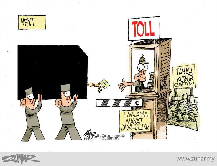 #kartunzunar #cartoon #politicalcartoon #kubur #mayat #1malaysia #toll #cemetery #paytilldie
