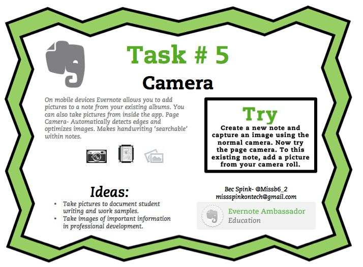 Evernote Task #5 Camera                                                                                                                                                                                 More