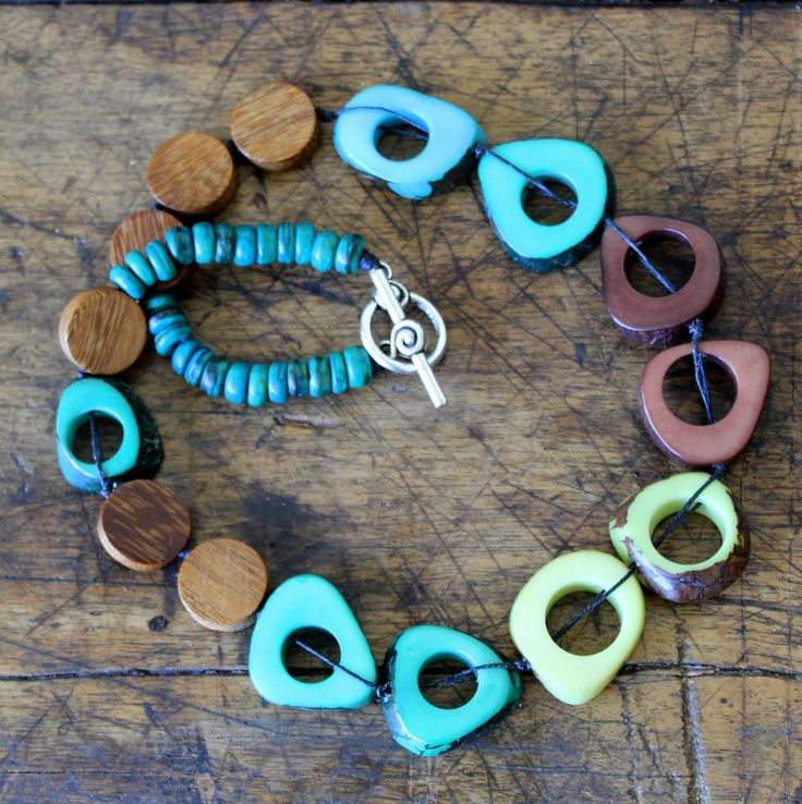 Tagua Nut Necklace - Blue Brown and Green by earlybirdcreations on Etsy