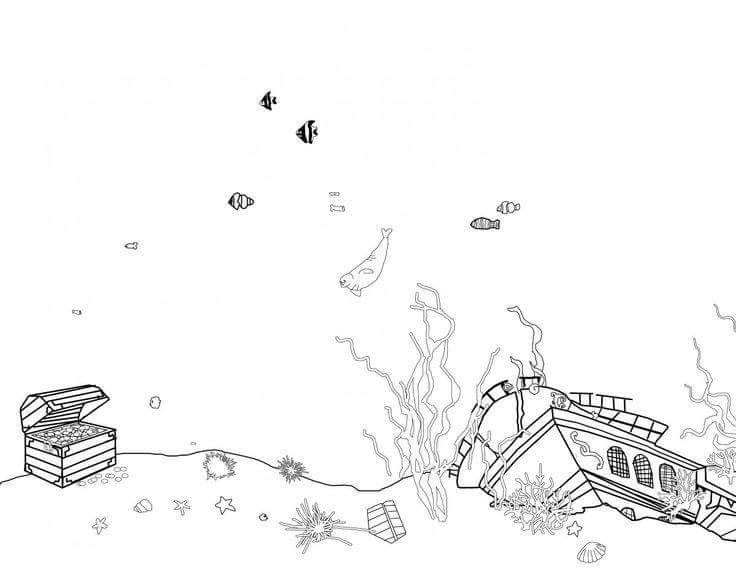 underwater scene with a treasure chest and sunken ship a few fish seashells and even a walrus for kids to color - Sunken Pirate Ship Coloring Pages
