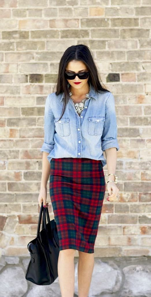 chambray top, red lips and tartan pencil skirt