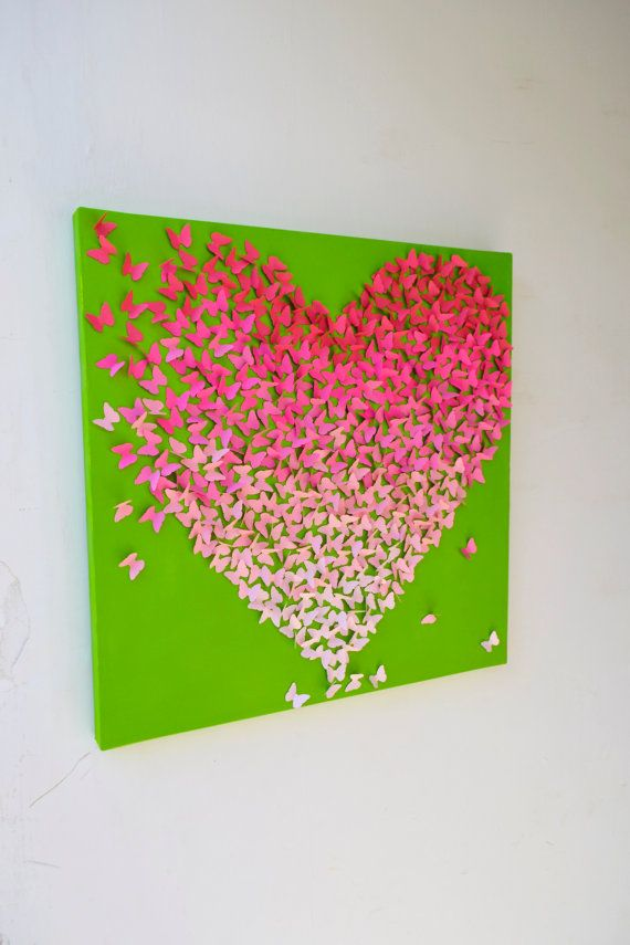 Pink Ombre Butterfly Heart on Lime Green/ 3D Butterfly Wall Art / Nursery Art /Children's Room Decor / Engagement / Wedding Gift