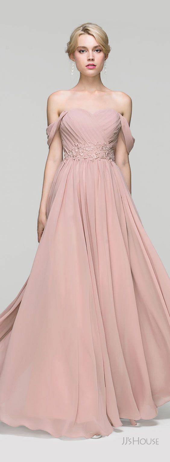 floorlength chiffon evening dress with ruffle lace beading