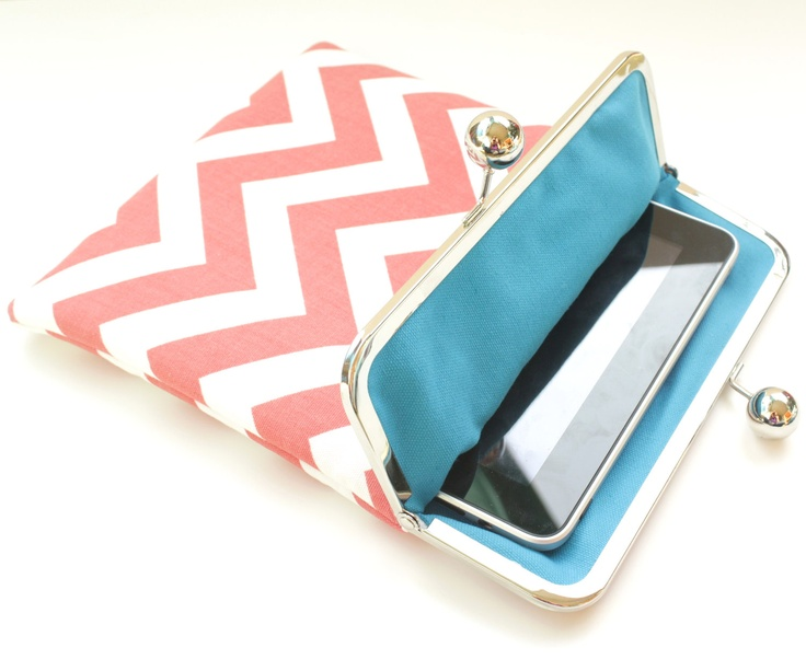 Coral Chevron iPad Case or Sleeve with Kisslock Frame - iPad Case or Clutch - Notebook Clutch - Coral and Blue Chevron Prin