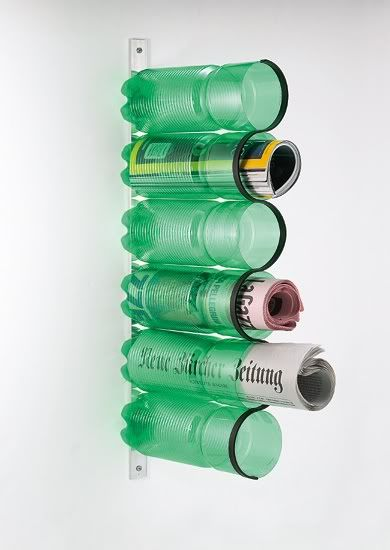 magazine holder - old tennis ball cans