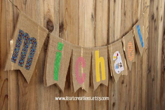 Personalized fabric name banner / Your choice of by LisaTCreations, $36.00