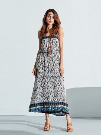 Bohemian Women Sleeveless Floral Print Beach Long Maxi Summer Dresses at Banggood