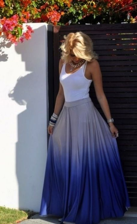 Great skirt for a bohemian wedding.   Try a different color of dip dye for each girl, bouquet to match.