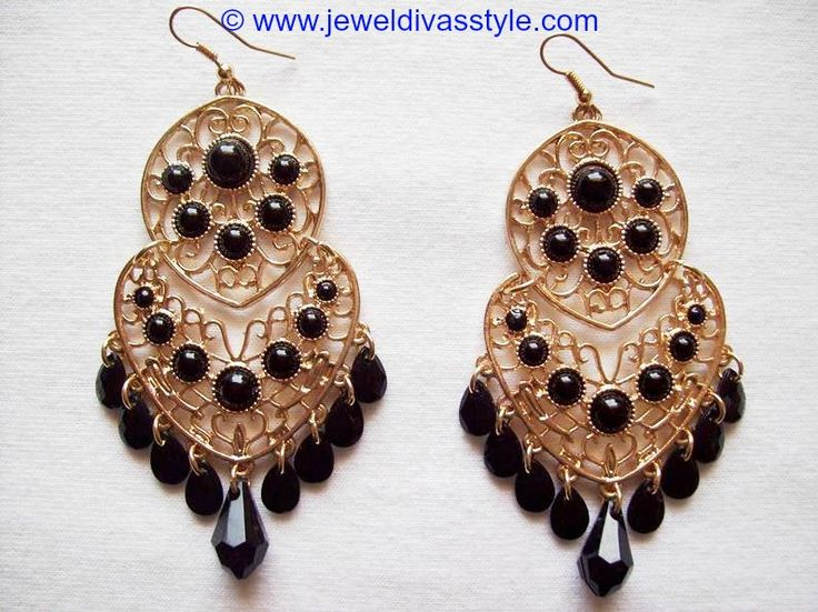 JDS - BLACK & GOLD EARRINGS - http://jeweldivasstyle.com/my-personal-collection-black-jewellery-plus-some-gorgeous-jewellery-boxes/