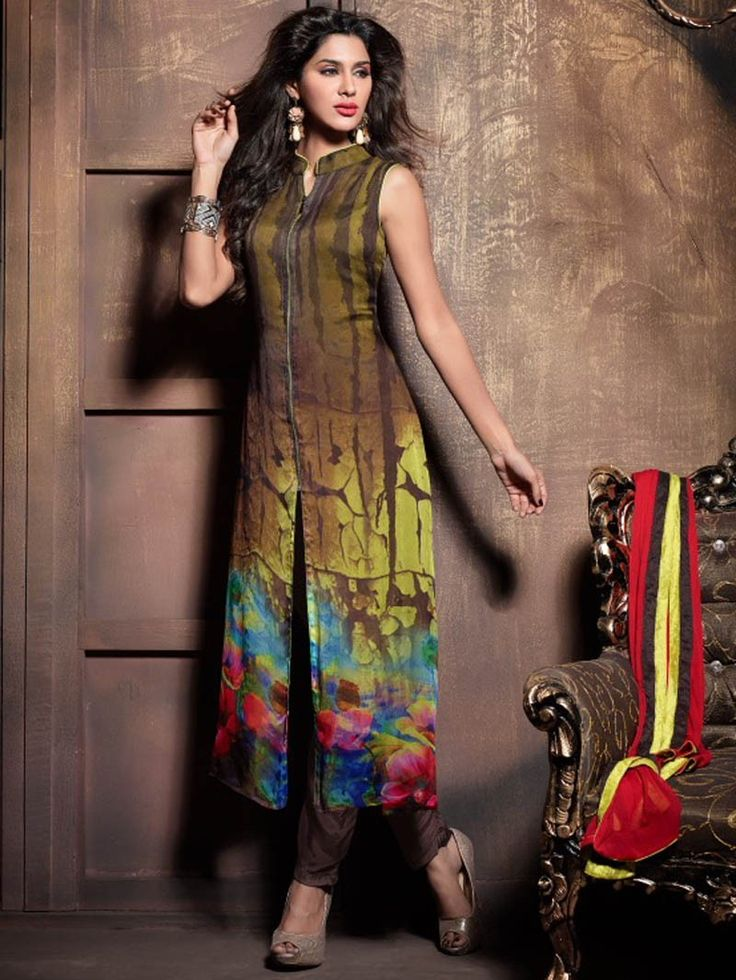 Olive color Front Open Anarkali Suit with Trouser 2004MK