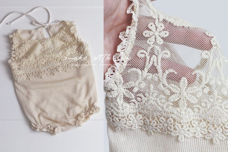 My favorite! :) LIMITED!Stretch fabric romper in light vanilla. Very stylish and luxuriously-looking romper. The upper part of the front romper  is made from beautiful embroidered tulle lace in the same color. Stretch cotton lace at the ends. Stretch roll tie on back. Great for a variety of posing options!size: newbornMade to order, please allow about 2-3 weeks production time prior to shipping.HANDWASH ONLY!WORLDWIDE SHIPPINGPlease note that colors may looks...