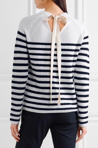 Joseph | Bow-detailed striped cashmere sweater | NET-A-PORTER.COM