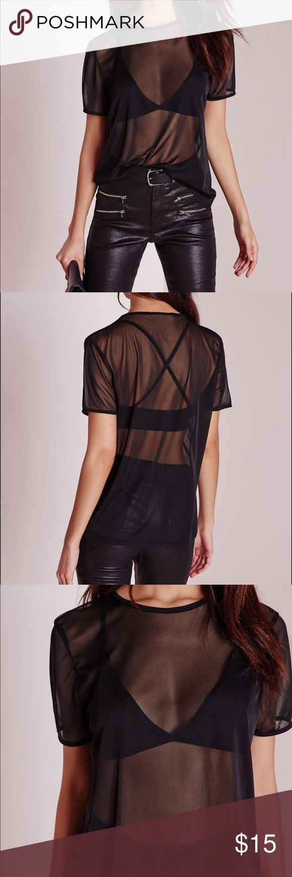 Missguided mesh tshirt Super soft, fine mesh tshirt that has NEVER been worn and still has tags attached Missguided Tops