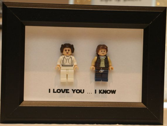 Lego I Love You I Know Framed Han & Leia Star Wars Mini Figures Millenium Falcon Minifigures Wedding Anniversary Personalized UK USA Canada