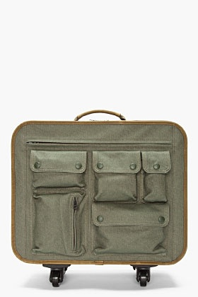 WHITE MOUNTAINEERING green leather-trimmed Multi-Pocket travel Bag