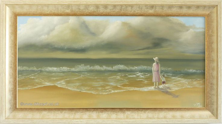 Framed painting of mother and child sharing a moment on the beach