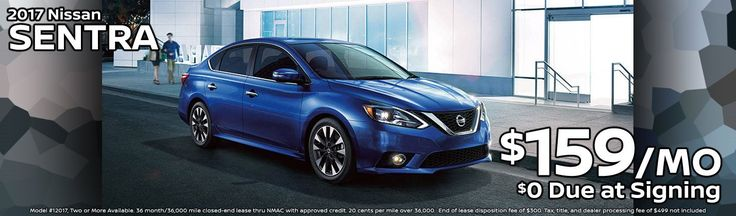 2017 Nissan Sentra. $159/month. $0 Due at signing. Browse Inventory: http://www.billgattonnissan.net/searchnew.aspx?Type=N&Year=2017&Make=Nissan&Model=Sentra