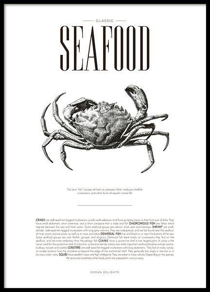 Mooie keukenposter met Seafood, illustratie en tekst over de lekkernijen van de zee, in stijlvol design. www.desenio.nl