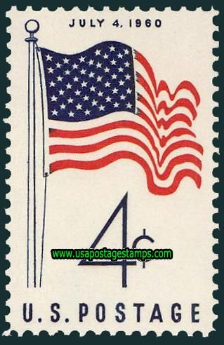 United States Commemorative Stamps | Commemorative Stamps: 4c New United States Flag 1960