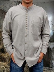 Traditional Grandfather Shirt SC491C Light Grey