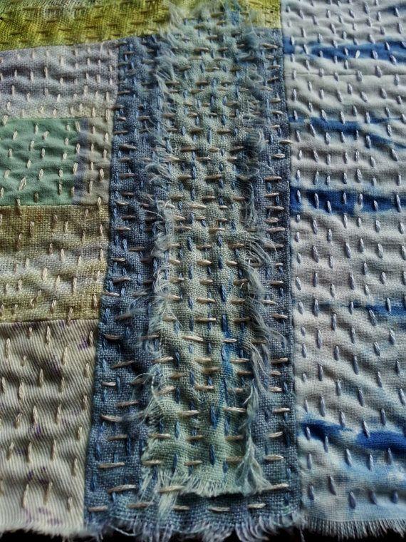 Japanese Boro Sashiko Slow Stitch mending patch Naturally Hand
