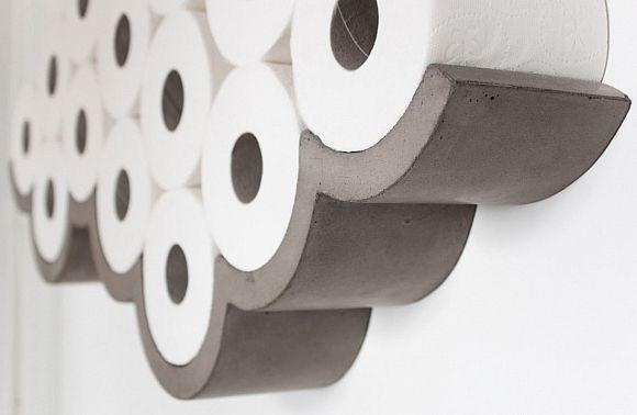 Una bella idea per impilare i rotoli di carta igienica in #bagno #design - Concrete cloud shaped toilet holder #bathroom