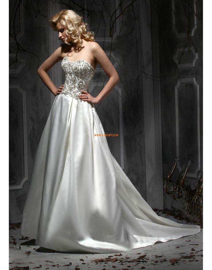 Bez ramínek Tyl Přírodní Svatební šaty 2015