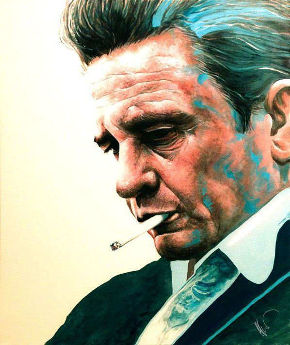 Pintando el alma de Johny Cash en acrílico