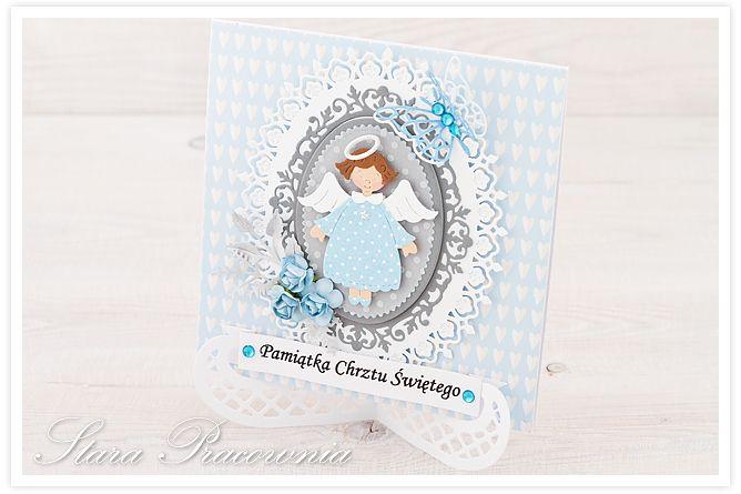 Kartki ręcznie robione na chrzest z aniołkami :-) www.facebook.com/starapracownia www.starapracownia.blogspot.com
