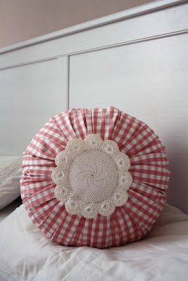 romantic round pillow with vintage lace