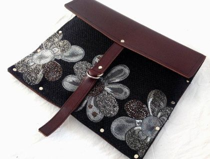 Safe and Secure ipad case - Charcoal floral and chocolate leather