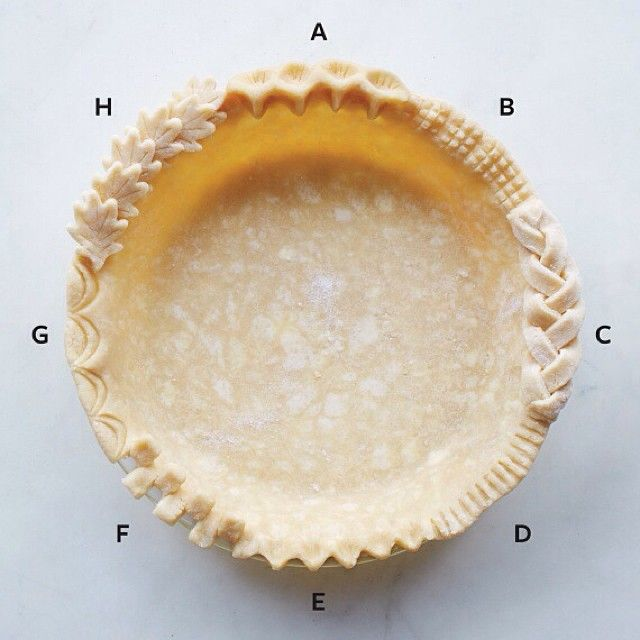 Looking to upgrade your pie crust this #Thanksgiving? Here are some of our go-tos. A. Pinch dough to crimp, then use a fork to mark edge. B. Use a fork to crosshatch marks. C. Braid three strips of dough and adhere them with egg wash. D. Flatten with a fork. E. Pinch to crimp. F. Cut tabs and alternate folding forward. G. Mark twice with an inverted spoon. H. Cut out leaf shapes, mark veins with a knife, and adhere with egg wash. Get more Kitchen Wisdom online…