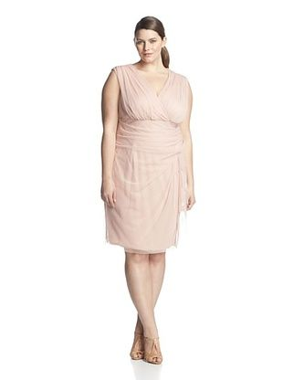 37% OFF London Times Plus Women's Side Cascade Sheath Dress (Peach)