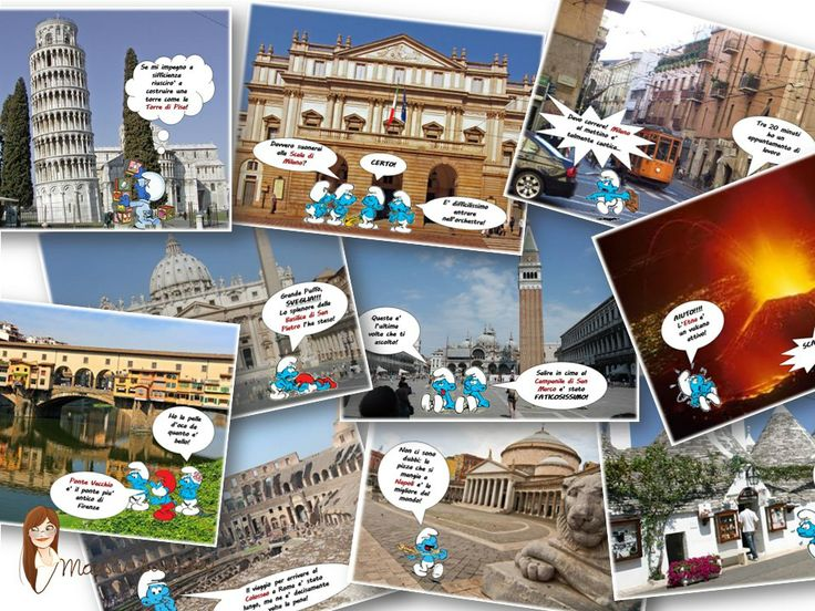 SMURFS ITALY FLASHCARDS - I made these 2 years ago for my advanced students and learning about Italian geography this way was real fun