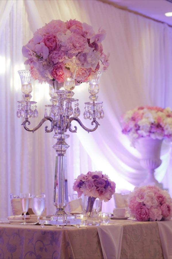 Candelabra centrepiece  DreamGroup Productions ~ Vancouver Wedding & Event Planners   Flowers by Granville Island Florist