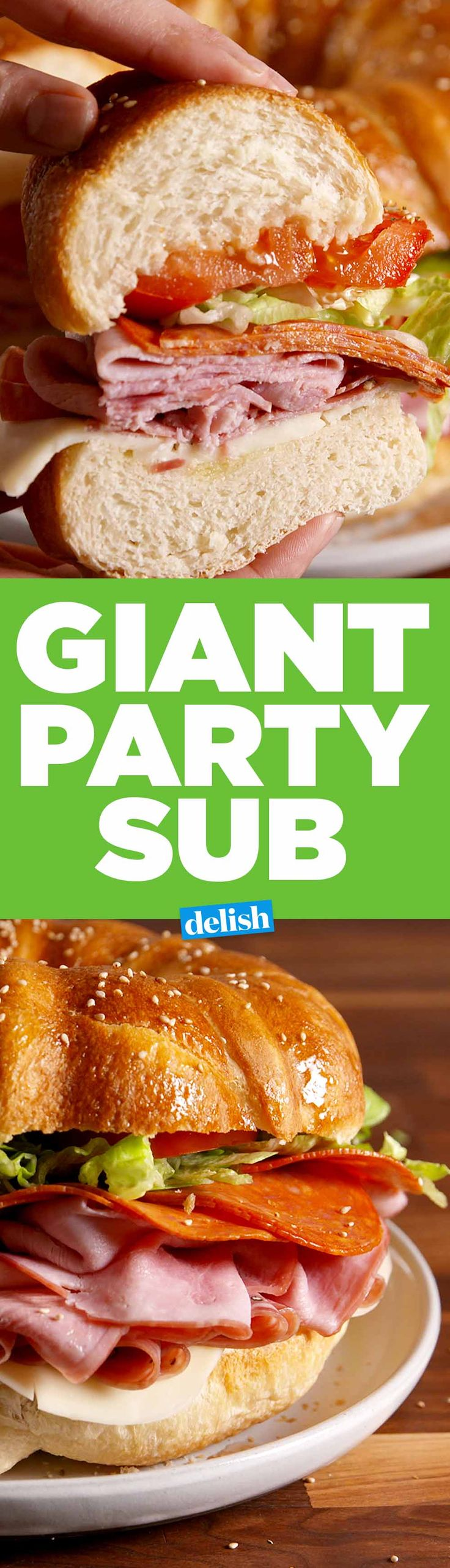 This giant party sub will feed your squad and save you cash. Get the recipe on Delish.com.