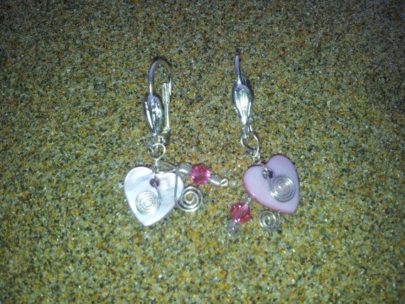 Valentines Pink Shell Heart and Swarovski Crystal by OnenJewellery, £10.00