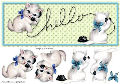 Hello Kittens on Craftsuprint designed by Diane Hannah - Hello Kittens includes decoupage elements. - Now available for download!