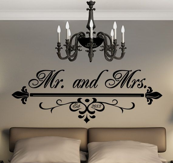 Mr. and Mrs. Wall Art Vinyl Black Decal With Wedding Date In Flourish - Personalized Wedding Gift - His And Her Monogram      ~*~*SIZES OF DESIGNS