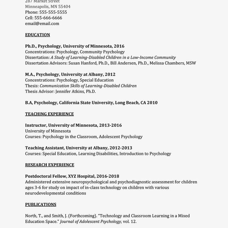Entry Level Psychology Resume Best Of Academic Curriculum