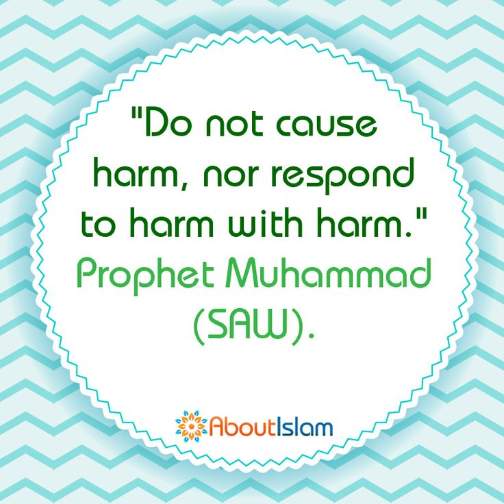 """True Islam! """"Do not cause harm, nor respond to harm with harm."""" - Prophet Muhammad (SAW)"""