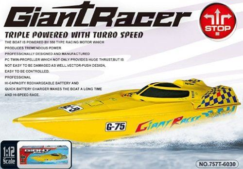 RC Boat Review-Giant Racer G-75 Mosquito Craft Huge RC Racing Speed ESC Boat Electric Radio Remote Control Water Cooling Triple Motor Fast Ship Amazon Special  *** click the picture to learn more...