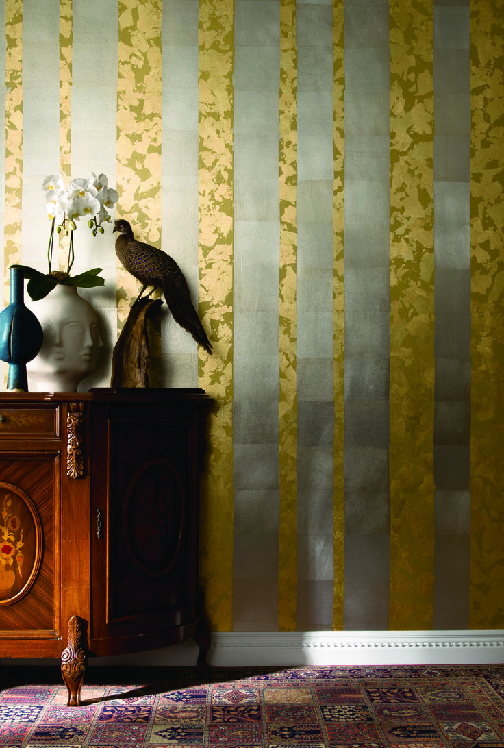 Forest Bark, a luxury hand-made metal leaf wallcovering from Tektura