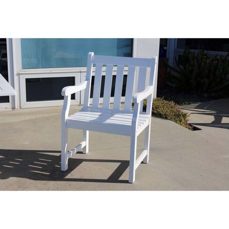 Vifah Bradley Eco Friendly Outdoor White Wood Garden Arm Chair (White),  Patio