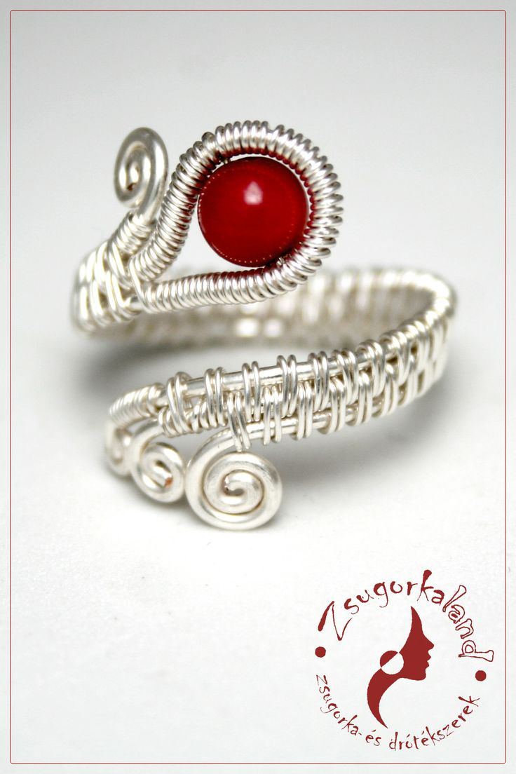 handmade ring made of silver plated wire and coral mineral pearl http://www.facebook.com/Zsugorkaland