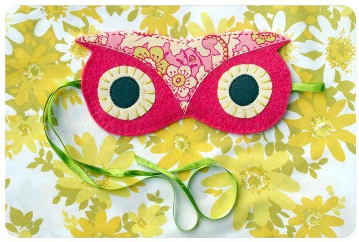 Party favor idea - DIY owl sleep mask (perfect for a night owl slumber party!)