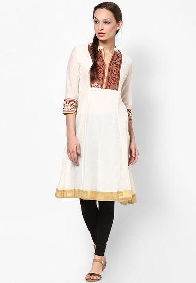 Cotton Off White Kurti Sangria Kurtas Amp Kurtis For Women